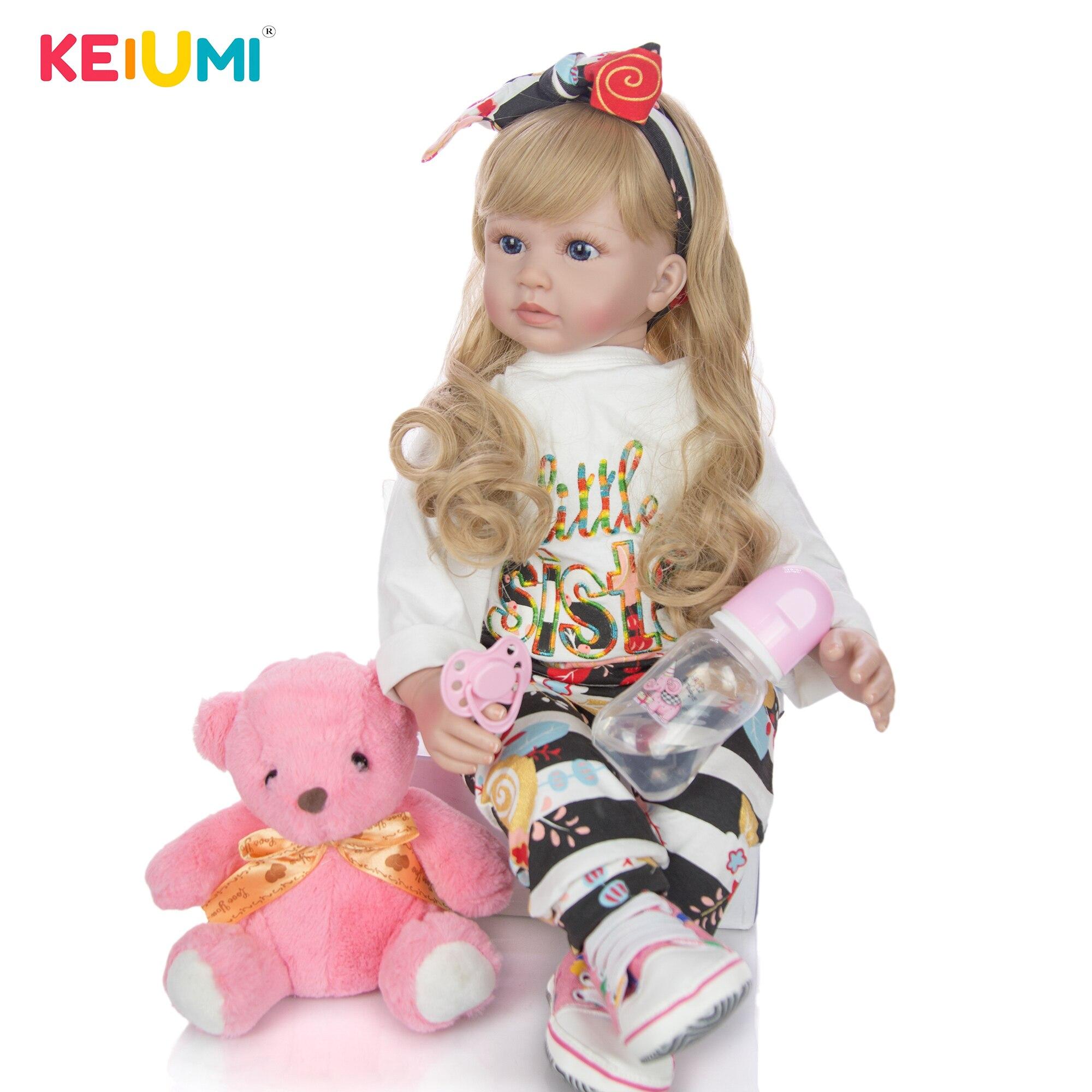 60 cm Silicone Soft Vinyl Reborn Baby Doll Lifelike Princess Doll With Blond Hair Girls Brinquedos Birthday Gift Play Doll Toys